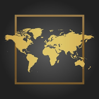 Golden political world map in black background with frame. space for text and quotes. vector illustration.