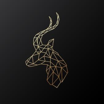 Golden polygonal antelope illustration isolated on black background