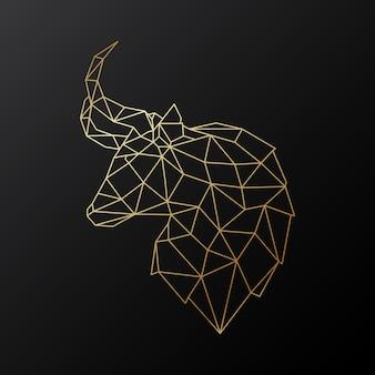 Golden polygonal bull head illustration isolated on black background