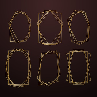 Golden polygonal frame collection in brown shades