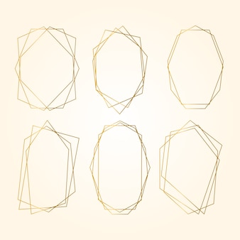 Golden polygonal frame collection in sepia shades
