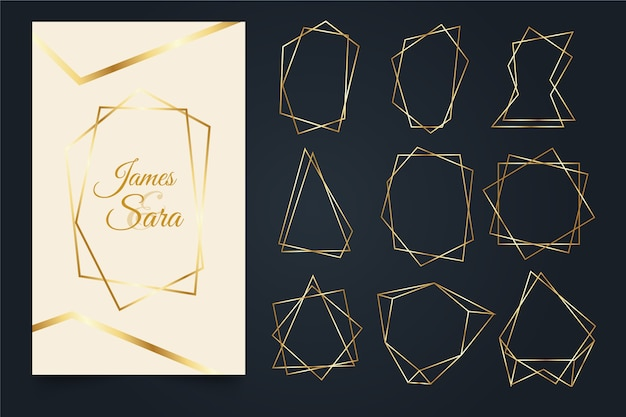 Golden polygonal frame collection
