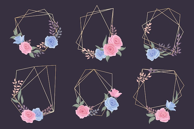 Golden polygonal frames collection with floral theme