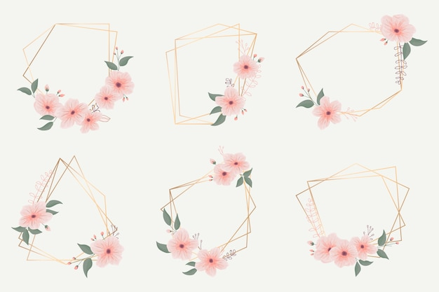 Golden polygonal frames collection with flowers