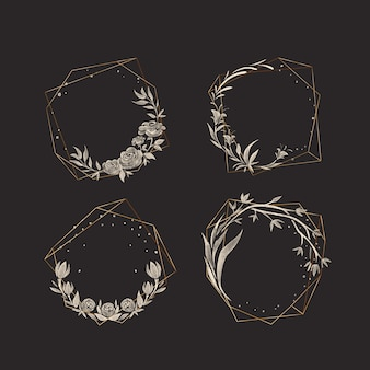 Golden polygonal frames with elegant flowers pack