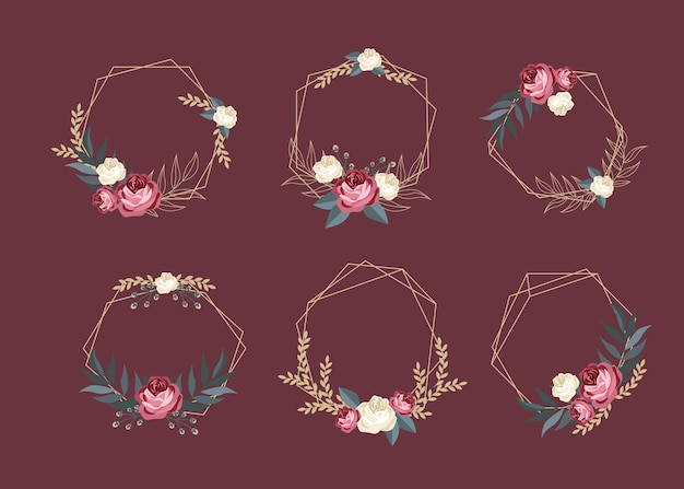 Golden polygonal frames with elegant flowers set
