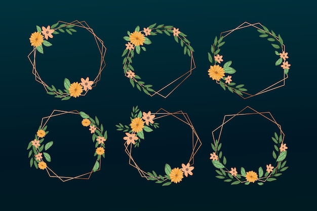 우아한 꽃 세트와 황금 다각형 프레임