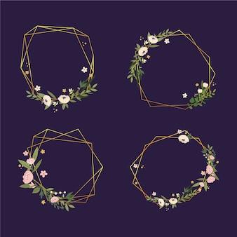 Golden polygonal frames with elegant flowers