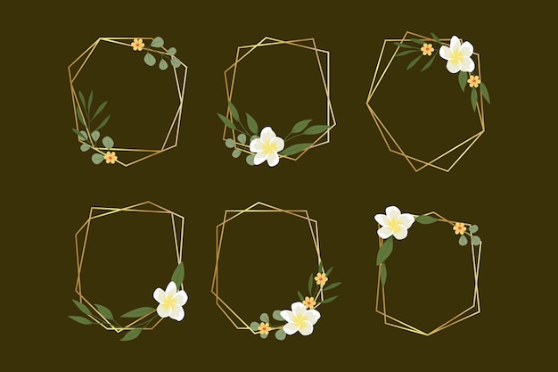 Golden polygonal frames with elegant flowers