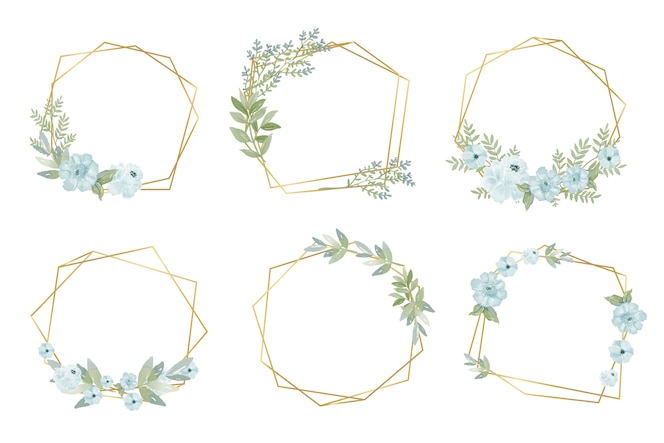 Golden polygonal frames with flowers
