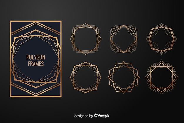Golden polygonal wedding frame set