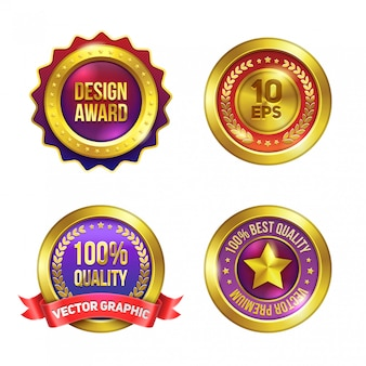Golden premium badges set.
