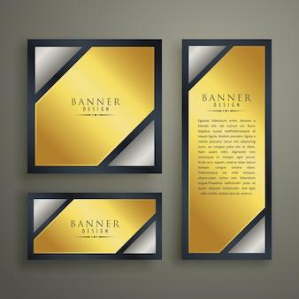 Golden premium banner set design template