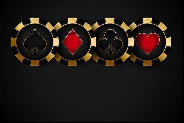 Golden premium casino symbol chips