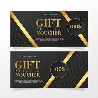 Golden premium gift voucher template