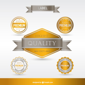 Golden premium labels and badges