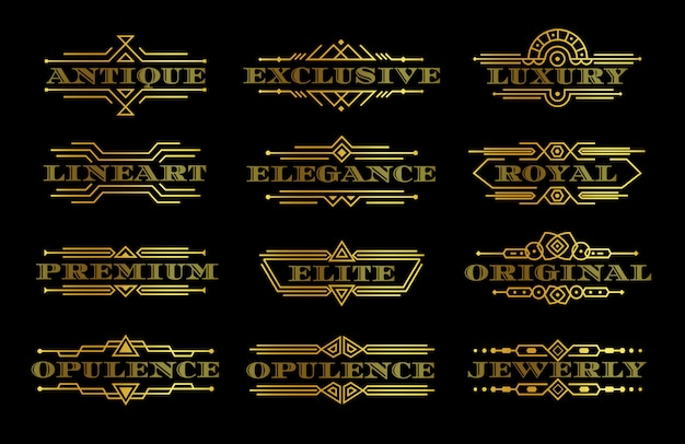 Golden premium quality label set, gold text logo template with outline contour, elegant logotype with linear frame, luxury decorative element, vintage emblems collection, isolated  illustration