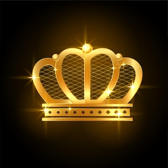 Golden premium shiny crown for royal king or queen