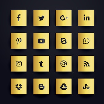 Golden premium social media icons