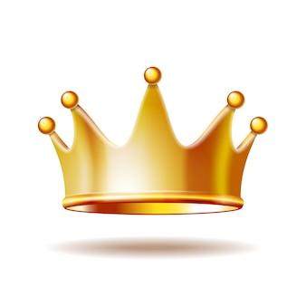 Золотая корона принцессы, изолированные на белом фоне. 3d иллюстрации