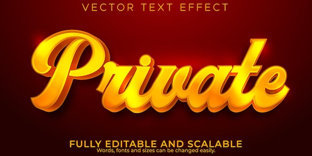 Golden private text effect, editable elegant and shiny text style