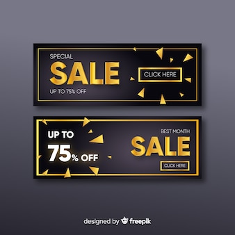 Golden promotional sales banner template