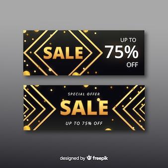Golden promotional sales banner template