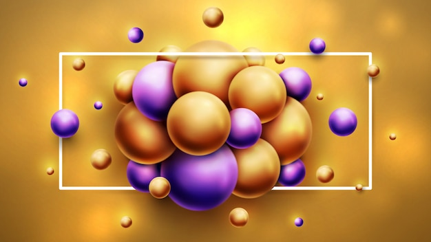 Golden and purple glossy balls.
