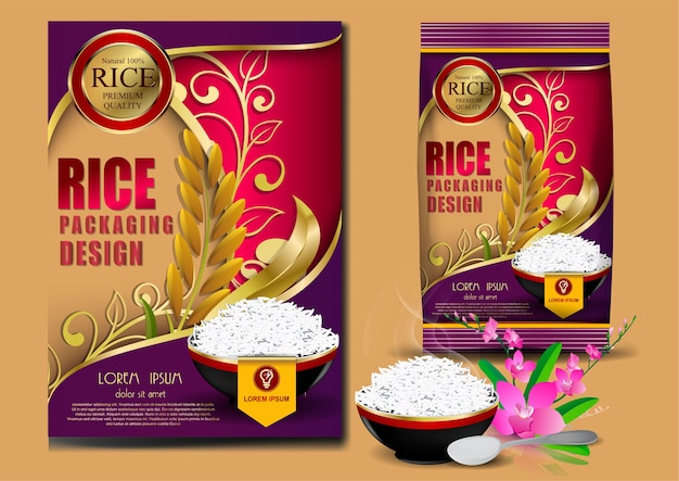 Golden and purple rice package thailand food logo products
