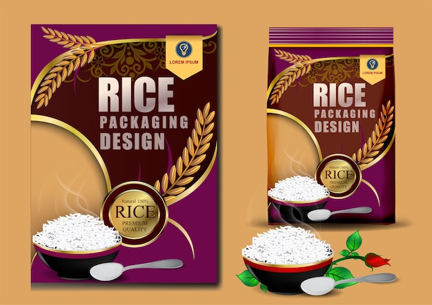 Golden and purple rice package thailand food logo
