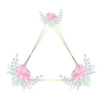 Golden pyramid frame with colorful watercolor floral wreath