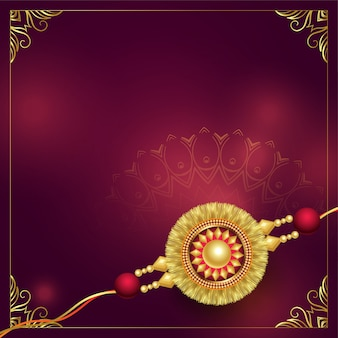 Golden rakhi background design with copyspace