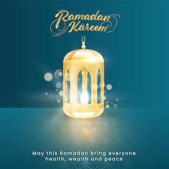 Golden ramadan kareem font with illuminated lantern on blue bokeh background
