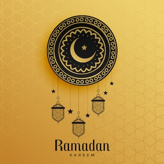 Golden ramadan kareem greeting design