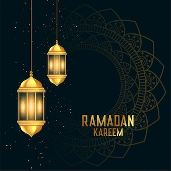 Golden ramadan kareen festival card with lanterns