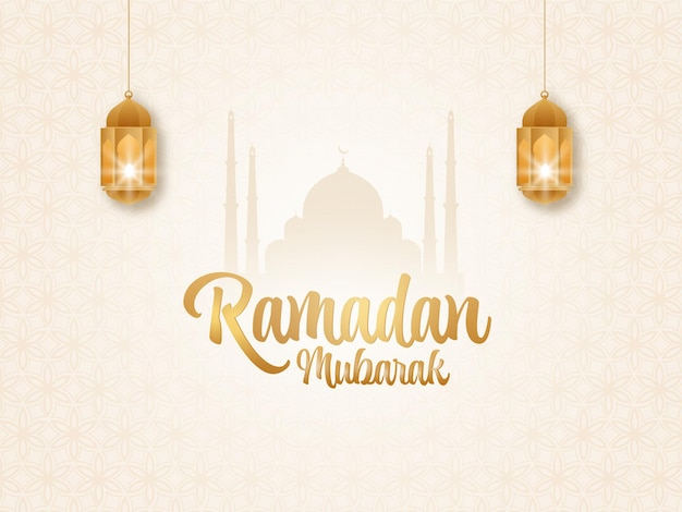 Golden ramadan mubarak font with illuminated lanterns hang and silhouette mosque on islamic pattern background.