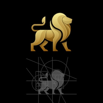 Golden ratio a lion vector illustration template