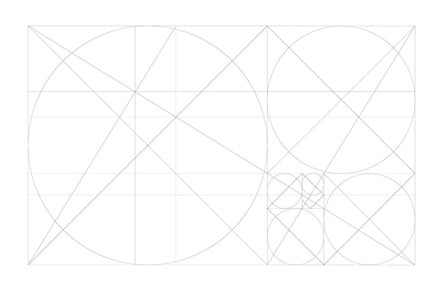 Золотое сечение минималистичный стиль дизайна геометрические фигуры футуристический дизайн логотип вектор значок