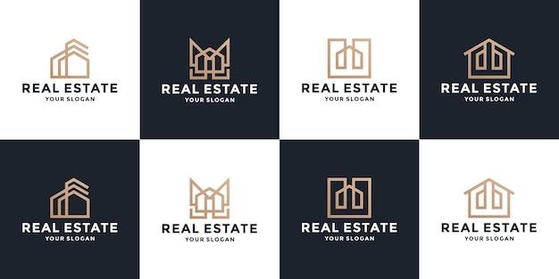 Golden real estate logo design collections