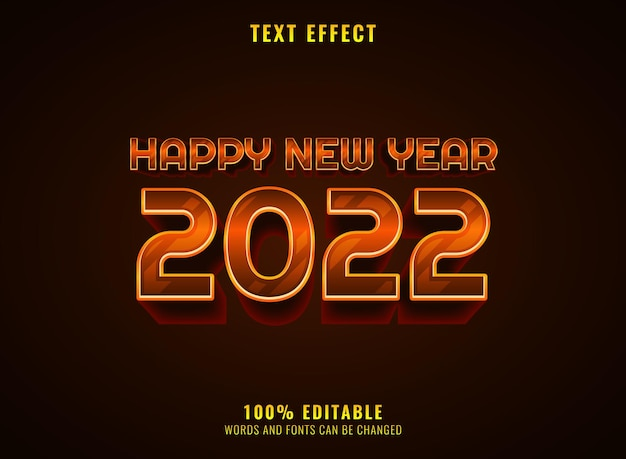 Golden realistic 2022 new year text effect