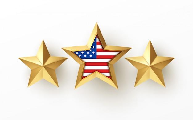 白で隔離されるアメリカの国旗と黄金の現実的な3 dスター
