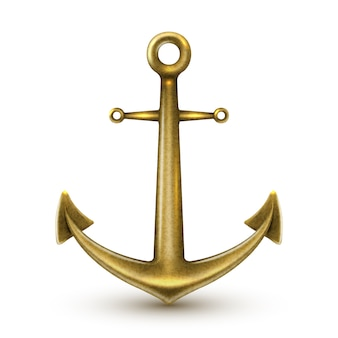 Golden realistic anchor