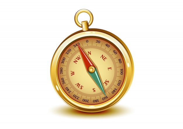 Golden realistic compass