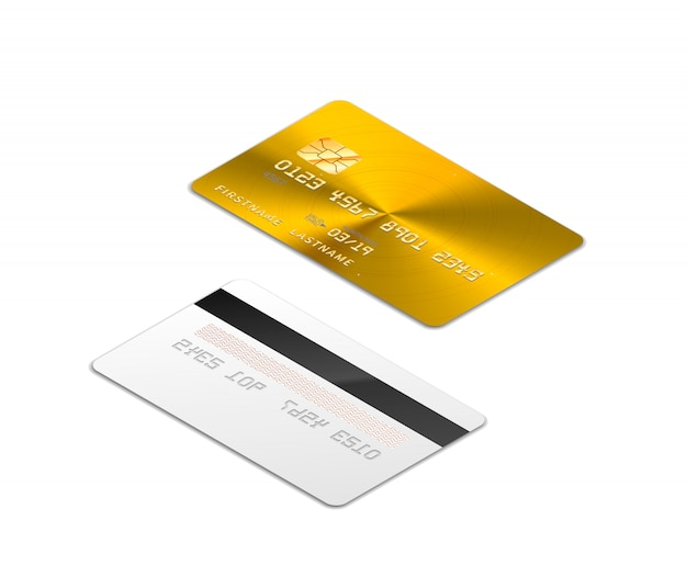 Golden realistic credit card with chip from both sides in isometric projection on white