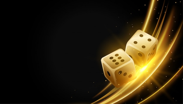 Golden realistic dice and glowing lights background