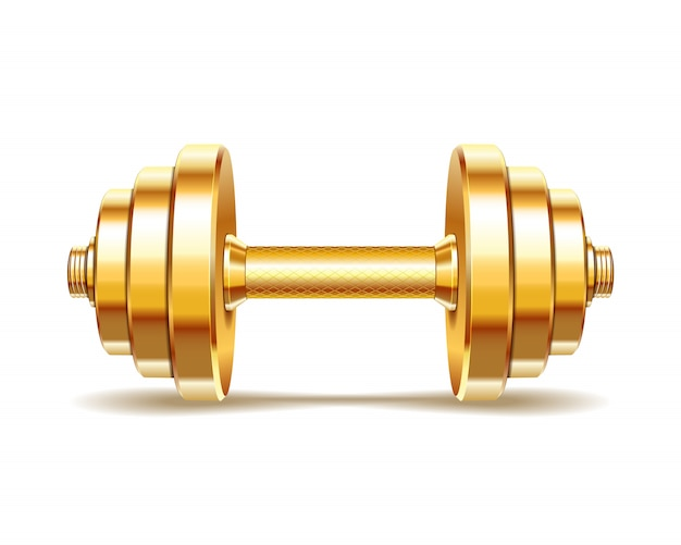 Golden realistic dumbbell  on white background. realistic  .