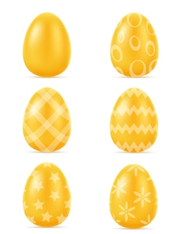 Золотая реалистичная иллюстрация пасхальных яиц на белом фоне