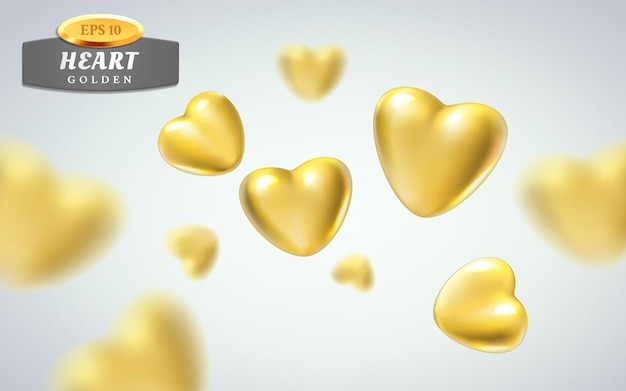 Золотые реалистичные сердца, изолированные на светлом фоне.