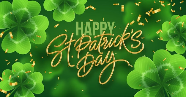 Golden realistic lettering happy st. patricks day with realistic clover leaves. Free Vector