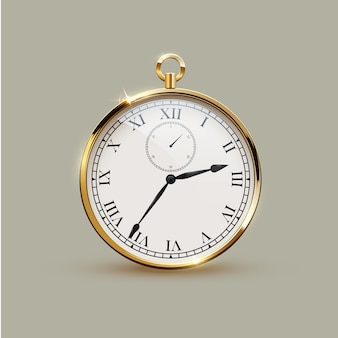 Golden realistic vintage watch isolated.